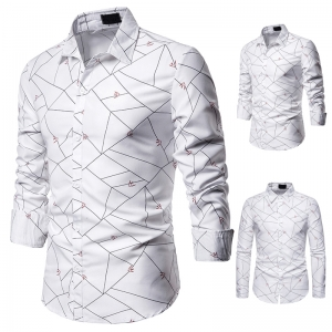 Men's Fashion Line Pattern Design Decoration Casual Long Sleeve Collar Shirt