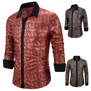 Men's Fashion Simple Pattern Gold Stamping Casual Long Sleeve Lapel Collar Shirt
