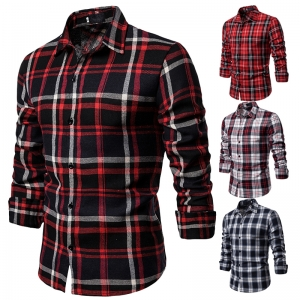 Men's Fashion Color Stitching Plaid Pattern Design Casual Collar Long Sleeve Shirt