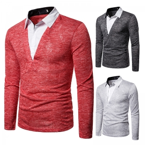 Men's Fashion Fake Two-Piece Color Stitching Casual Long Sleeve POLO Shirt