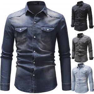 Europe Men' Fashion Retro Style Solid Color Double Pocket Design Casual Long Sleeve Denim Shirt