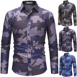 Europe Men's Fashion Camouflage Pattern Design Casual Slim Long Sleeve Collar Shirt