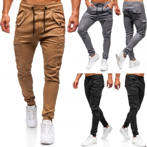 Europe Men's Fashion Flap Pocket Design Casual Solid Color Sport Long Pants