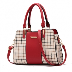 Europe Women's Fashion Plaid Pattern Stitching Trendy Metal Logo Decoration Shoulder Bag