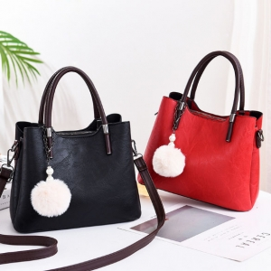 Europe Women's Fashion Plush Ball Pendant Retro Solid Color Across Body Shoulder Bag