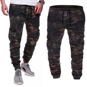 Europe Men's Fashion Camouflage Design Print Casual  Tether Belt Long Pants