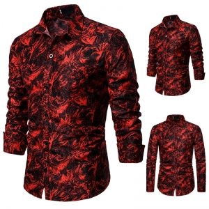 Men's Fashion Attractive Pattern Design Print Casual Long Sleeve Collar Nightclub Shirt