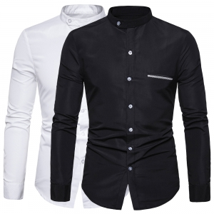 Men's Fashion Fake Pocket Decoration Casual Solid Color Long Sleeve Collar Business Shirt