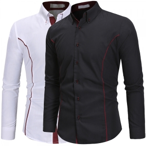 Men's Fashion Personality Edging Design Casual Solid Color Long Sleeve Collar Shirt