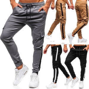 Europe Men's Fashion Beveled Color Stitching Design Casual Loose Long Pants