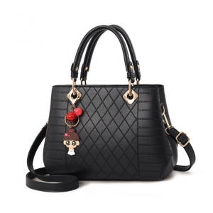 Europe Women's Fashion Cute Cartoon Character Pendant Quilted Pattern Solid Color Shoulder Bag