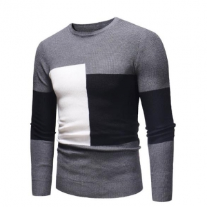 Men's Fashion Color Stitching Design Casual Slim Long Sleeve Round Neck Knit Sweater