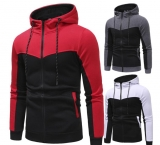 Stitching Design Men's Men\s Casual Slim Zipper Hooded Sweater