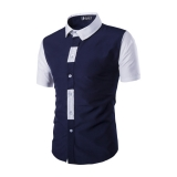 Mens Lapel Color Stitching Slim Fit Simple Short-sleeved Shirt