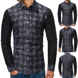 Men's Fashion Flower Printed Casual Long Sleeve Slim Fit Shirt