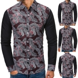 Fashion Men's Patchwork Printed Casual Long-sleeved Shirt