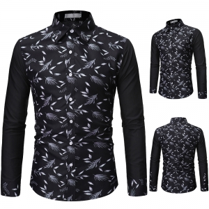 Fashion Stitching Floral Casual Long-sleeved Slim Fit Shirt