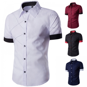 Men's Fashion Grid Line Design Short-sleeved Shirt