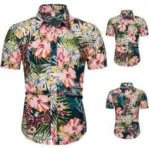 Hawaiian Flowers Men's Plus Size Short-sleeved Shirt