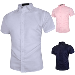 Casual  Solid Color Men's Short-sleeved Shirt