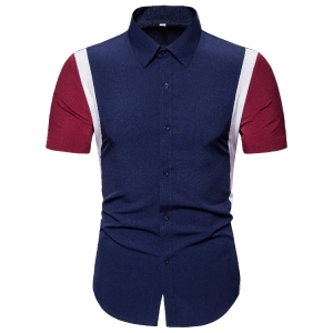 Men's Fashion Stitching Color Short-sleeved Shirt