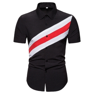 Men's Fashion Color Stitching Short Sleeve Shirt