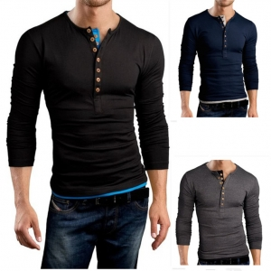 Men's Double-breasted Color Stitching Slim Fit Round Neck Long Seeves T-Shirt