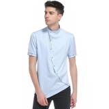 Personality Style Men's Oblique Placket Stand-up Collar Short-sleeved Shirt