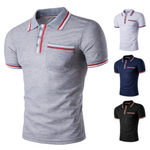Men's Personality Color Strip Stitching Short-sleeved POLO T-shirt