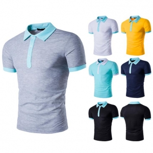 Men's Personality Crash of Color Lapel Short-sleeved POLO T-shirt