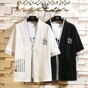 Men's Chinese Style National Embroidery Short-sleeved T-shirt