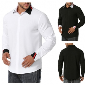 Men'sStitching Color Business Fashion Long-sleeved Shirt