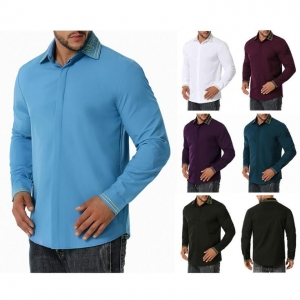 Men's Colorblock Business Fashion Embroidered Long Sleeve Shirt