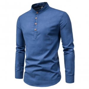 Men's Slim Fit Simple Stand Collar Design Formal Long-sleeve Shirts