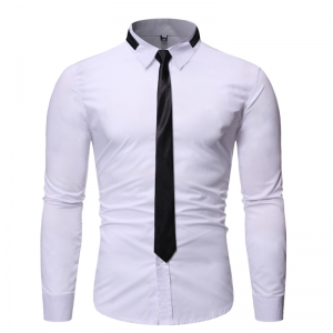 Men's Fashion Personalized Neckline Casual Long Sleeve Shirt with Tie