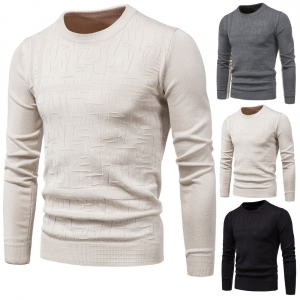 Men's Knitwear Round Neck Long Sleeve Fashion Solid Color Sweater